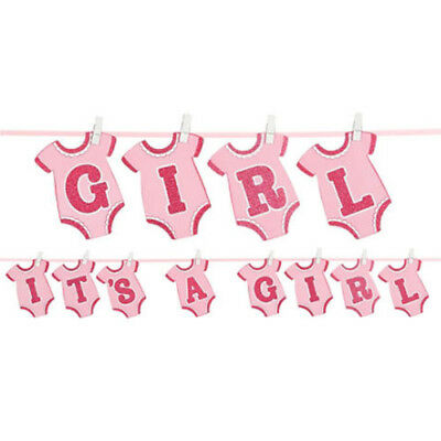 Baby Girl Party Supplies (BABY GIRL DELUXE GLITTER CUTOUT BANNER ~Shower Party Supplies Pink Hanging)