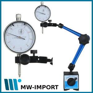 Magnet Messstativ mit mechanischer Zentralklemmung + Messuhr 10 mm / 0,01 mm