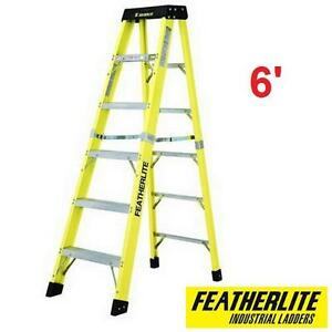 NEW FEATHERLITE 6' STEP LADDER EXTRA HEAVY DUTY FIBERGLASS - HAND TOOL LADDERS HEIGHTS STEPLADDER STEPLADDERS 108210633