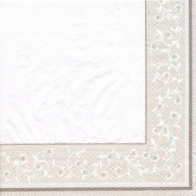 NEW Lenox OPAL INNOCENCE SILVER Cocktail Beverage Paper Napkin 20 count