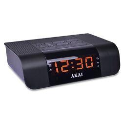 Akai CEU1007 FM PLL Alarm Clock Radio w/Fast Charging 2.4A USB Port for Smartpho