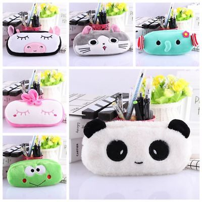 Panda Cat Cosmetic Pouch Cartoon Zipper Pocket Makeup Bag Plush Pencil -