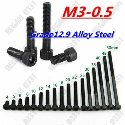 M3-0.5 Allen Hex Socket Cap Head Screw Bolt 12.9 Class Black Alloy Steel 4-50mm