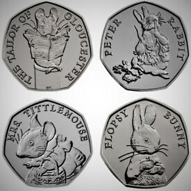 2018-Complete-Beatrix-Potter 50 Pence Coin Collection- Brilliant Unblemished Uncirculated Condition