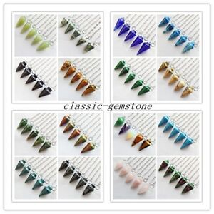 XJ-199-Beautiful-mixed-gemstone-pendulum-Pendant-Bead-5pcs-please-Pick-Stone
