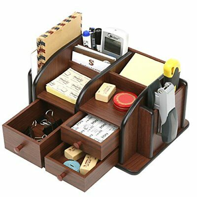 Wood Desktop Office Supplies Organizer Rack Drawers Accessories Storage Caddy