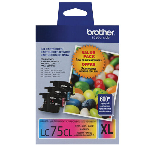 Brother LC75-3PKS Combo Pack Ink High Yield