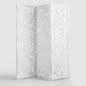 White Wood Privacy Screen, Room Divider, Headboard, Hand Carved, Distressed