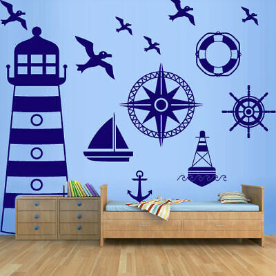 Large Set Marine Wall Decal Ocean Lighthouse Ship Boat Compass Nautical M1372