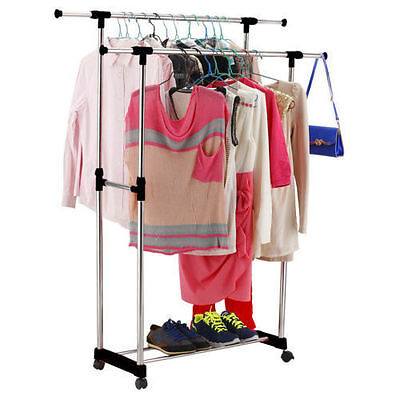 double heavy duty rail adjustable portable clothes hanger rolling garment rack t ebay. Black Bedroom Furniture Sets. Home Design Ideas