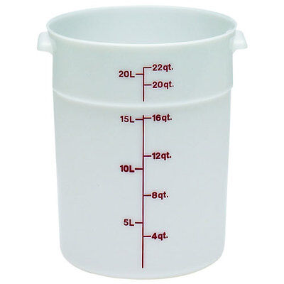 Cambro Plastic Storage Round Food Container White 22 qt.   1/Pack