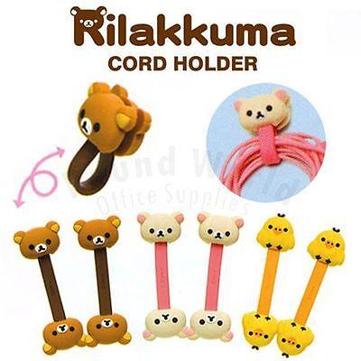 San-X Rilakkuma Relax Bear iphone Headphone Earphone Mini Cord Holder Organizer