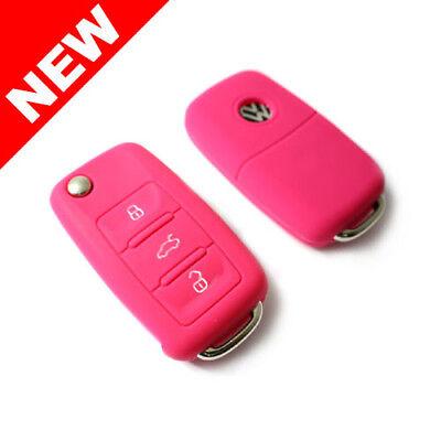 3 Button Remote Silicone - PINK SILICONE COVER FOR VW 3-BUTTON REMOTE FOLDING FLIP KEY