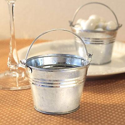 100 Miniature Galvanized Bucket Favor Box Wedding Bridal Shower Party Boxes - Galvanized Buckets Wedding