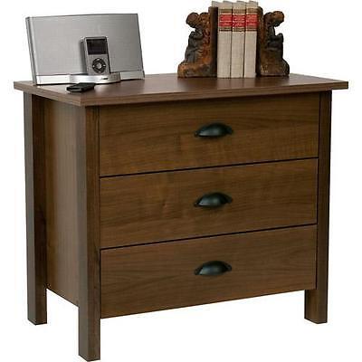 كومودينو جديد 3 Drawer Chest Bedroom Dresser Organizer Nightstand Wood Walnut