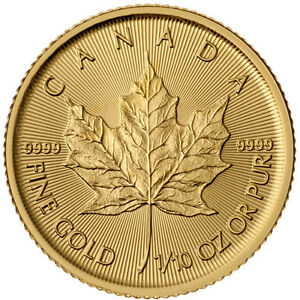 1/10 oz Pièce Or Pur Feuille d'Érable Maple Leaf Gold Coin 9999