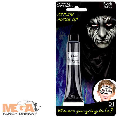 Black Cream Make Up Fancy Dress Halloween Spooky Kids Adults Costume Face Paint
