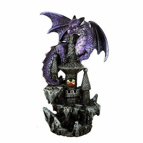 Purple Guardian Dragon on Castle Figurine Medieval Mythical Fantasy Decoration