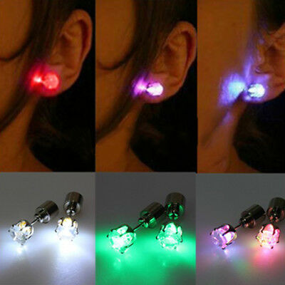 Light Up LED Rhinestone Earrings Stud Dance Party Accessories for Xmas Cheap