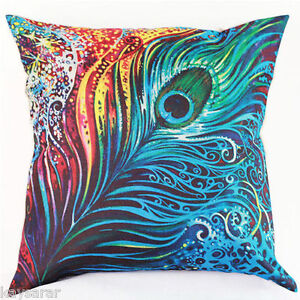 UK Sale: PEACOCK FEATHER Cotton-Linen New CUSHION COVER Natural Classic Case
