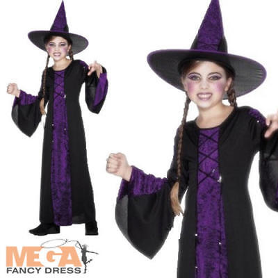 Girls Witch Halloween Fancy Dress Childs Book Character Party Kids Costume + Hat](Halloween Book Character Costumes)