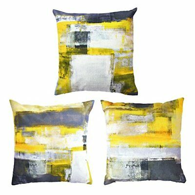 Decor MI [Just Pillowcase Modern Grey and Yellow Throw Pillow Covers Abstract