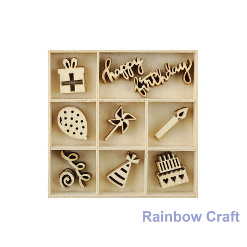 Kaisercraft Wooden Flourish packs / storage box 74 selections - Party
