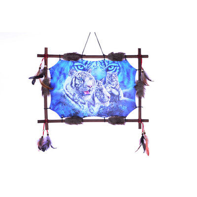 "22""x16"" Hidden White Tiger Dream Catcher Wall Hang Decor Feathers Wood Frame"