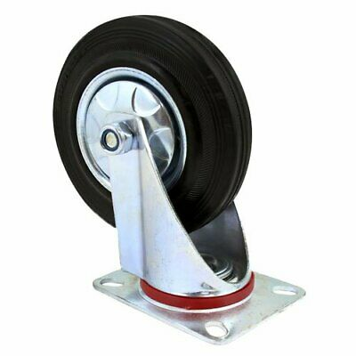 5 Inch Swivel Rubber Base With Top Plate Bearing Heavy Duty Caster Wheel