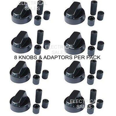 Para Belling Negro Mando Horno Encimera 082614181 x 8 Pomos y Adaptadores segunda mano  Embacar hacia Spain