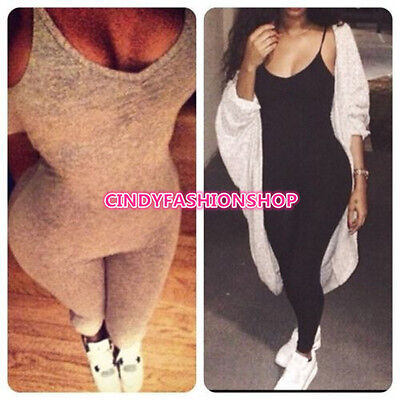 New Women Solid Sleeveless Sling Jumpsuit Bodycon Legging Pants Rompers Playsuit