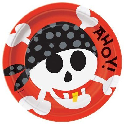 PIRATE PARTY Ahoy LARGE PAPER PLATES (8) ~ Birthday Supplies Dinner Luncheon Red