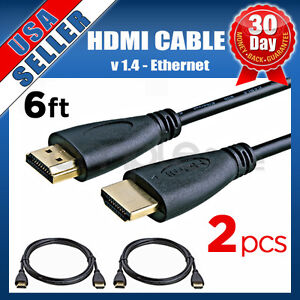 2x-PREMIUM-HDMI-CABLE-6FT-For-BLURAY-3D-DVD-PS3-HDTV-XBOX-LCD-HD-TV-1080P-US