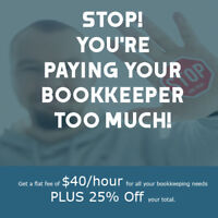 ONLY NOW-$40/HR FLAT FEE  BOOKKEEPING-5 STAR REVIEWS
