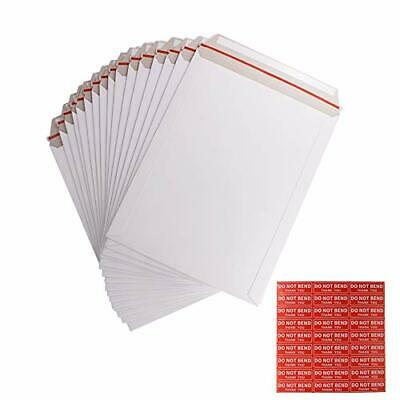 100 Pack 9x12 Inch Self Seal Photo Document Mailers Stay Flat White Cardboard