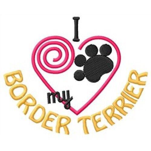 "I ""Heart"" My Border Terrier Long-Sleeved T-Shirt 1381-2 Size S - XXL"
