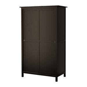 IKEA-HEMNES Wardrobe with 2 sliding doors, black-brown