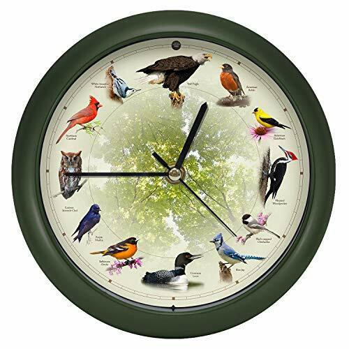"Limited Edition 20th Anniversary Singing Bird Wall Sound Clock, 13"", Green"