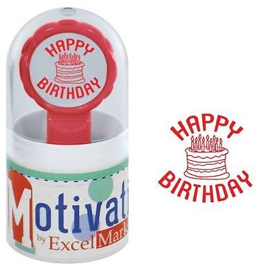 New Excelmark Motivations Pre Inked Teacher Stamp Happy Birthday Red Ink
