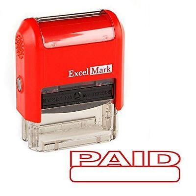 New Excelmark Paid Self Inking Rubber Stamp Red And Blue Ink