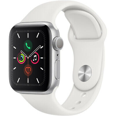 NEW APPLE WATCH SERIES 5 40MM SILVER ALUMINUM WHITE SPORT BAND MWV62LL/A