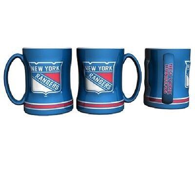 (NY New York Rangers Coffee Mug Relief Sculpted Team Color Logo 14 oz NHL Blue)