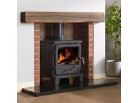 "As New Geo Cast 48"" Wood Effect Dark Oak Fireplace Beam with built in Spotlights."