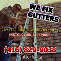 Eavestrough repair / Call: 416.829.9038 / gutters cleaning