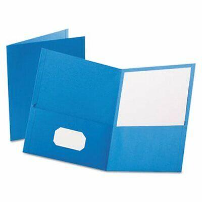 Oxford Twin-pocket Folder Embossed Leather Grain Paper Light Blue Oxf57501