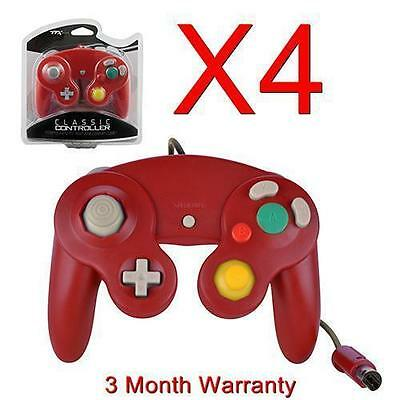 4 BRAND NEW CONTROLLERS FOR NINTENDO GAMECUBE or Wii RED, GREEN, CLEAR, ORANGE