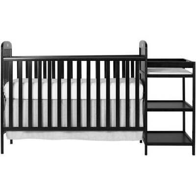 Dream On Me Anna 4-in-1 Full Size Crib And Changing Table Combo - Black