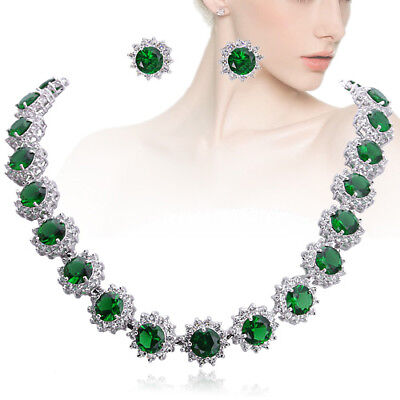 Sunflower Round Necklace Earrings Set Green Cubic Zirconia Women Party (Sunflower Necklace Earrings)