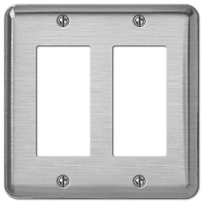 Creative Accents Brushed Chrome Steel 2 Rocker Switch GFCI Decorative Wallplate Accent Wall Plates Decorative Steel