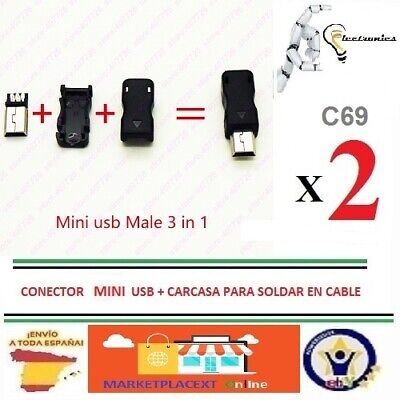 2 Conectores MINI USB Tipo B para montar a Cable+Carcasa MINI USB...